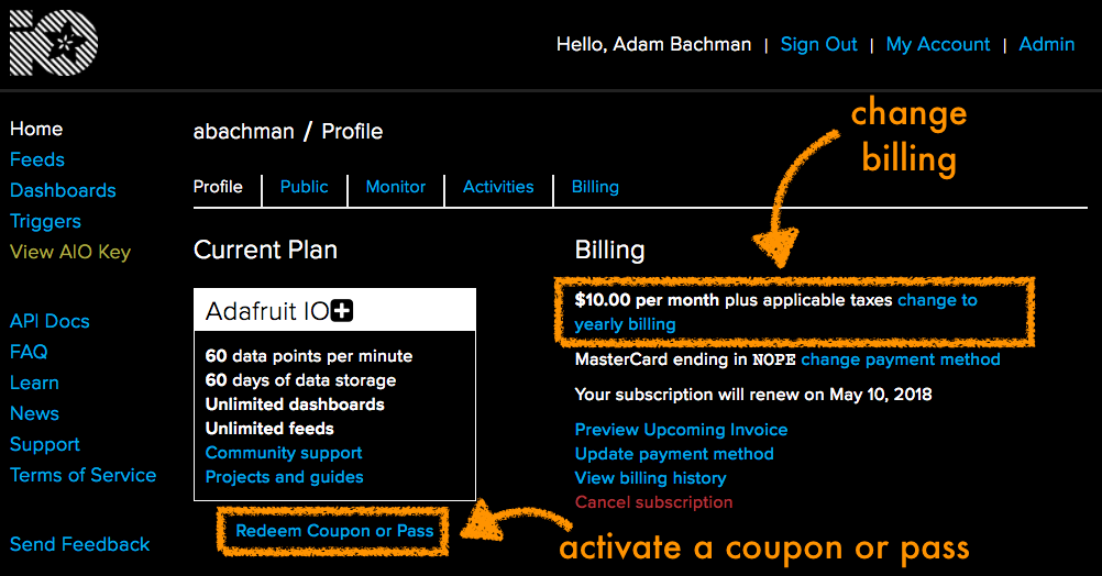 Profile page with billing cycle change highlighted