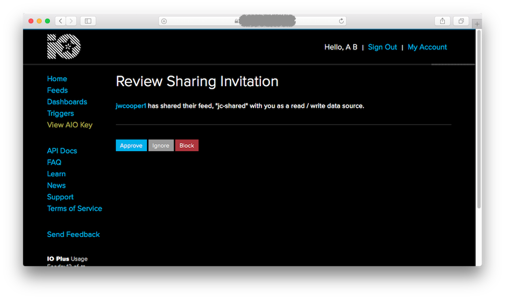 reviewing a sharing invitation from another user
